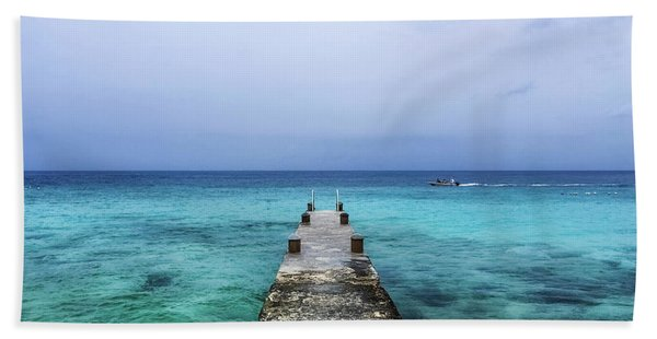 Pier On Caribbean Sea With Boat Hand Towel