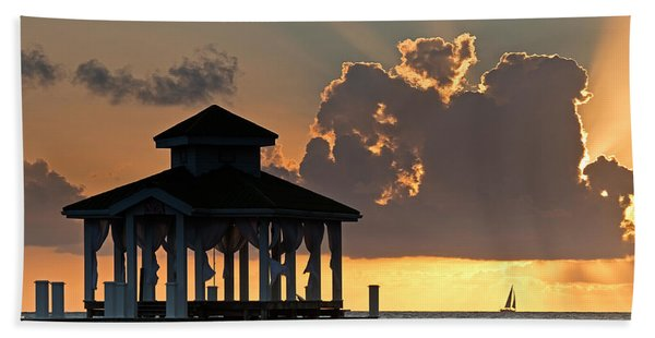 Pier Palapa And Distant Sailboat Hand Towel