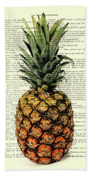 Pineapple In Color Illustration Bath Towel