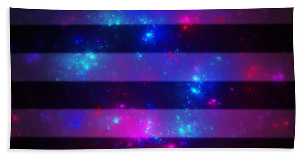 Pink And Blue Striped Galaxy Hand Towel