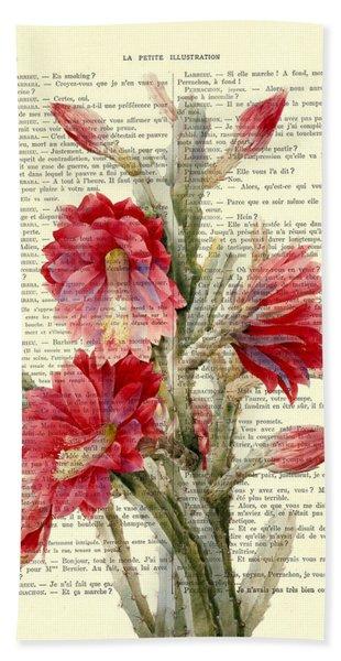 Pink Cactus Flower Vintage Book Page Collage Bath Towel