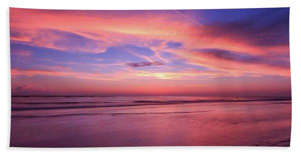 Pink Sky And Ocean Hand Towel