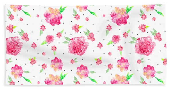 Pink Flower Pattern Bath Towel