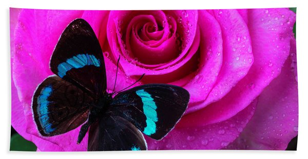 Pink Rose And Black Blue Butterfly Bath Towel