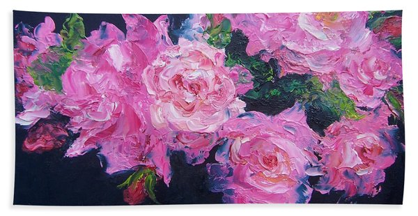 Pink Roses Oil Painting Hand Towel