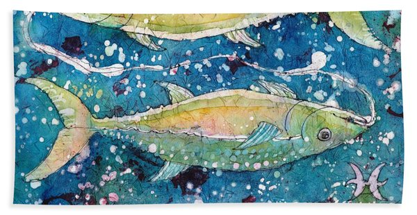 Hand Towel featuring the painting Pisces by Ruth Kamenev