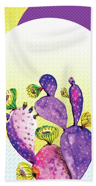 Pop Cacti - Purple Yellow Bath Towel