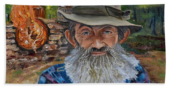 Popcorn Sutton - Rocket Fuel -white Whiskey Hand Towel