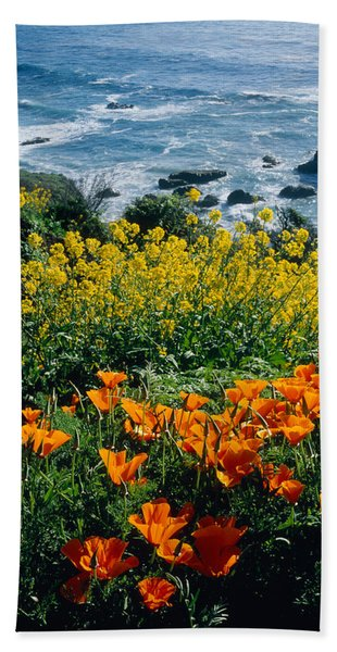 Poppies Along Coast Ca Usa Hand Towel