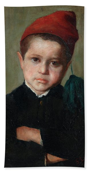 Portrait Of A Boy Wearing A Red Cap Hand Towel