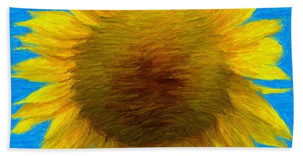 Portrait Of A Sunflower Hand Towel