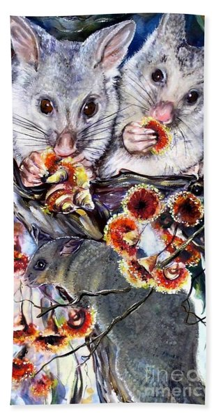Possum Family Hand Towel