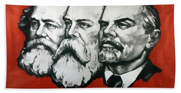 Poster Depicting Karl Marx Friedrich Engels And Lenin Hand Towel