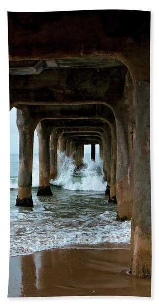 Bath Towel featuring the photograph Pounded Pier by Lorraine Devon Wilke