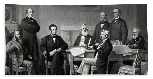 President Lincoln And His Cabinet Bath Towel