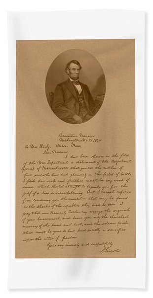 President Lincoln's Letter To Mrs. Bixby Hand Towel