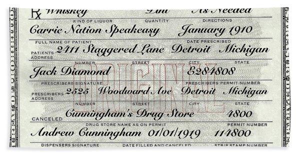 Prohibition Prescription Certificate Carrie Nation Speakeasy Hand Towel