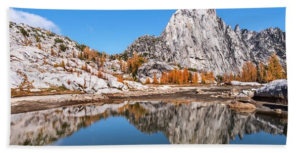 Prusik Peak Reflected In Gnome Tarn Hand Towel