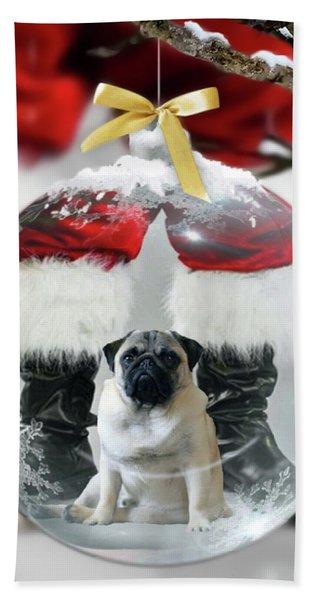 Pug And Santa Hand Towel