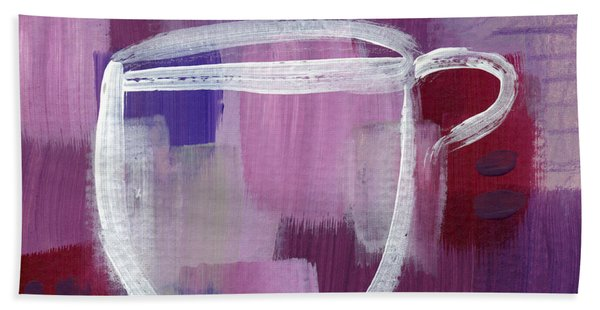 Purple Cup- Art By Linda Woods Hand Towel