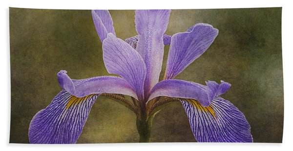 Bath Towel featuring the photograph Purple Flag Iris by Patti Deters