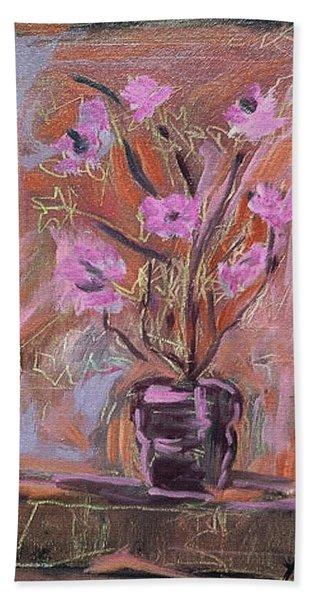 Purple Flowers In Vase Bath Towel