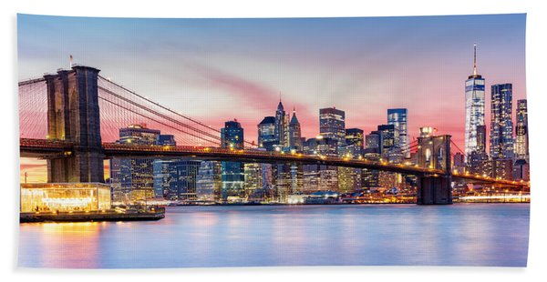 Hand Towel featuring the photograph Purple Nyc Sunset by Mihai Andritoiu