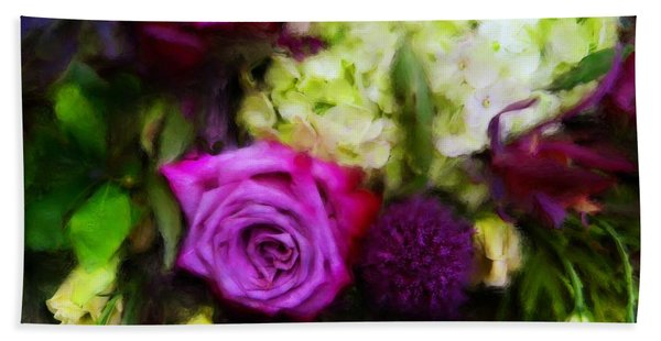 Purple Roses With Hydrangea Hand Towel