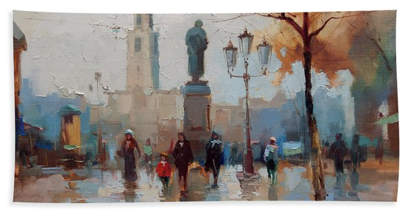 Pushkin, The Popular Trail. From The Series Old Moscow. Bath Towel