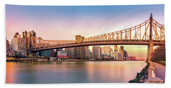 Hand Towel featuring the photograph Queensboro Bridge At Sunset by Mihai Andritoiu