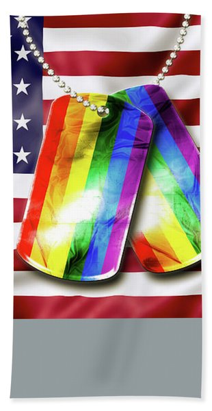 Rainbow Dog Tags Bath Towel