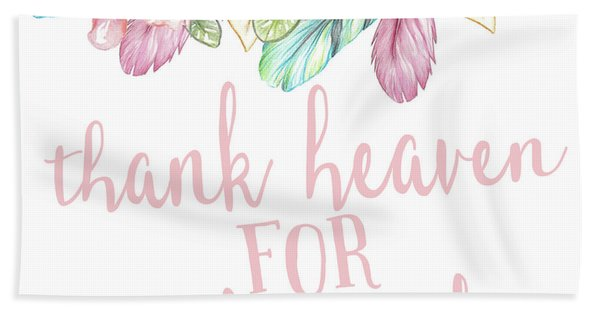 Rainbow Feather Tribal Thank Heaven For Little Girls Nursery Wall Art Throw Pillow Bath Towel