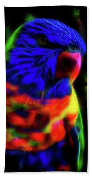 Rainbow Lorikeet - Fractal Bath Towel