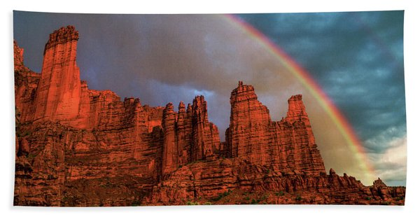 Rainbow Over Fisher Towers Bath Towel
