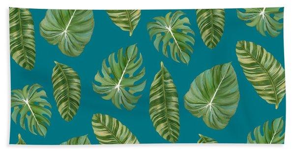 Rainforest Resort - Tropical Leaves Elephant's Ear Philodendron Banana Leaf Hand Towel