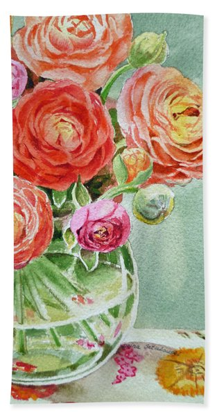 Ranunculus In The Glass Vase Hand Towel