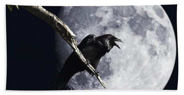 Raven Barking At The Moon Bath Towel