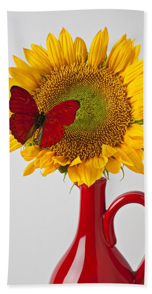 Red Butterfly On Sunflower On Red Pitcher Hand Towel