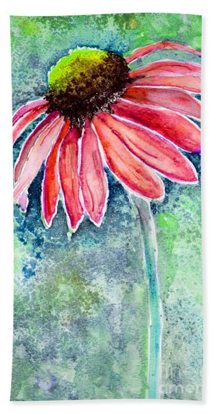 Bath Towel featuring the painting Red Cone Flower 9-1-15 by Mas Art Studio