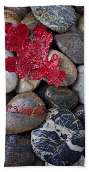 Red Leaf Wet Stones Hand Towel