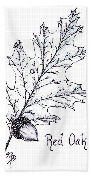 Red Oak Leaf And Acorn Hand Towel