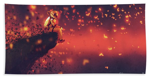Bath Towel featuring the painting Red Planet by Tithi Luadthong