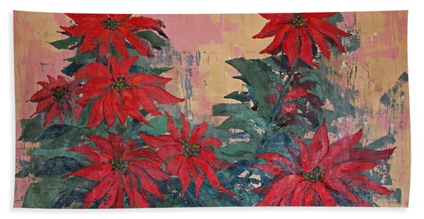 Red Poinsettias By George Wood Hand Towel