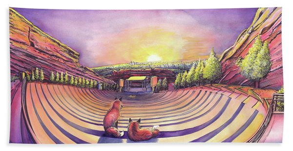 Foxes At Red Rocks Sunrise Hand Towel