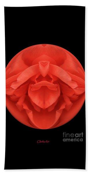 Red Rose Sphere Bath Towel
