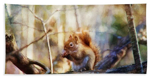 Red Squirrel With Pinecone Hand Towel