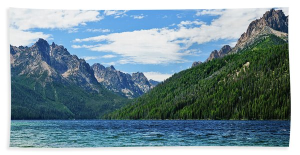 Bath Towel featuring the photograph Redfish Lake by Greg Norrell