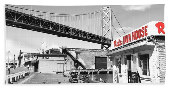 Reds Java House And The Bay Bridge In San Francisco Embarcadero . Black And White And Red Bath Towel