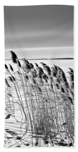Reeds On A Frozen Lake Hand Towel