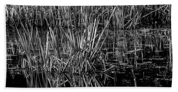 Reeds Reflection  Bath Towel